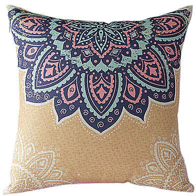 Buy Traditional Floral Cotton/Linen Decorative Pillow Cover