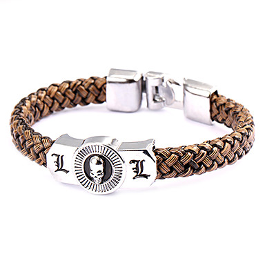 Buy Cosplay Bracelet Punk Style Dead Note L Lawliet Brown Leather (1 Pc)