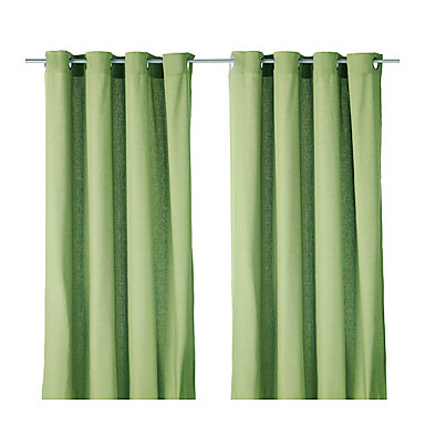(One Panel Grommet Top) Minimalist Green Solid Energy Saving Curtain