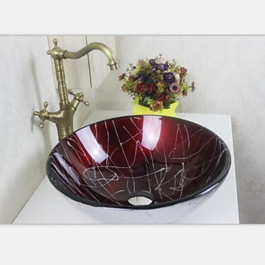 European pastoral style tempered glass vessel sink with for Are vessel sinks still in style 2016