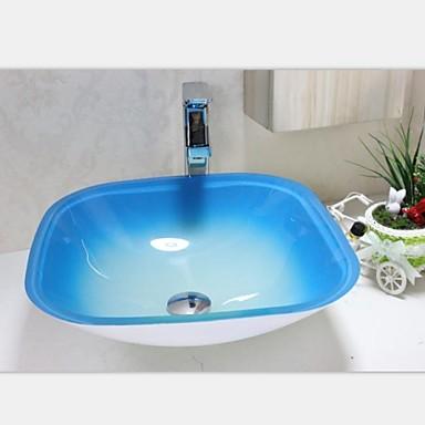 Cuadrados azules y blancas contempor neas templado fregadero recipiente de vidrio con grifo - Lavabos de vidrio ...