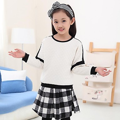 Girl's Check Hoodie & Sweatshirt,Cotton Blend Spring / Fall White