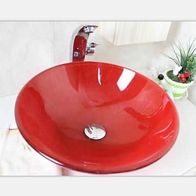 Grandes de color rojo brillante de oro de vidrio templado buque fregadero con grifo conjunto - Lavabos de vidrio ...