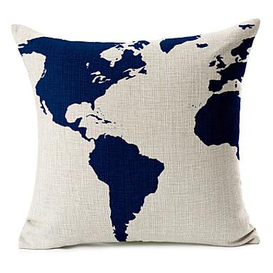 Buy Cotton/Linen Pillow Cover , Map Modern/Contemporary