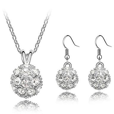 Buy ZGTS Women's Elegant Temperament 18K Silver Plated Austrian Crystal Necklace Earring Set