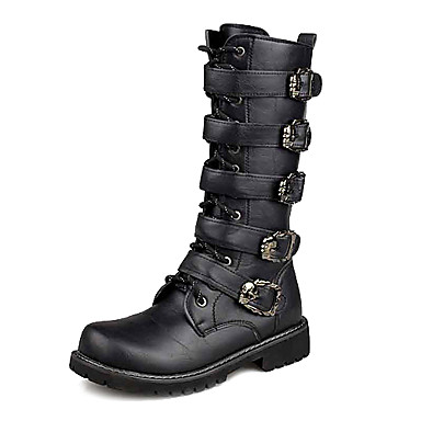 Men's Shoes Outdoor/Office & Career/Dress/Casual Faux Leather Boots Black
