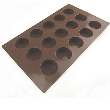 Buy 15 Hole Circular Shape Cake Ice Jelly Chocolate Molds,Silicone 29.5×17.2×2 CM(11.6×6.8×0.8INCH)