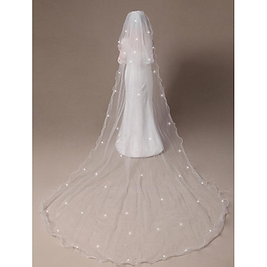 Wedding Veil Two Tier Elbow Veils Cathedral Veils Pencil Edge Beaded Edge 11811 In 300cm
