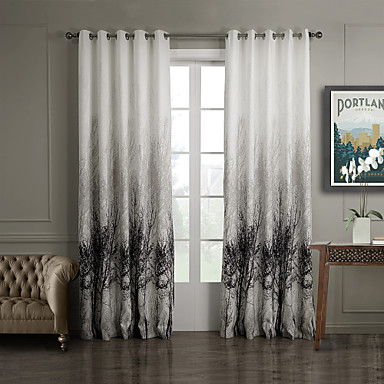 (One Panel Grommet Top) Ink Painting Style Trees Energy Saving Curtain