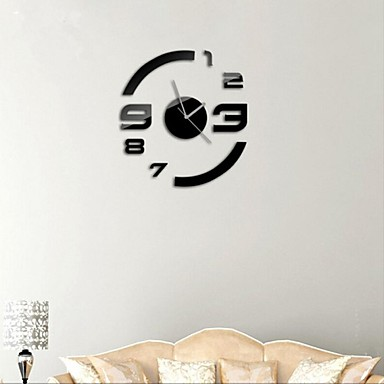 Buy 21 inchH Modern Style DIY 3D Mirror Acrylic Surface Sticker Wall Clocks Bedroom Livingroom