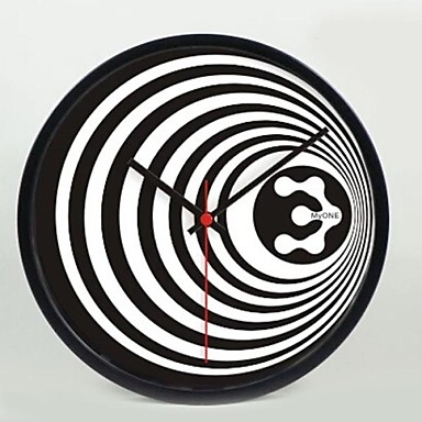 12 INCH Black Stripe Wall Clock Decorative Painting Hanging Watches Mute Meta...