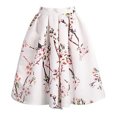 Women's Floral Print Knee-length Vintage Skirts, Satin Micro-elastic