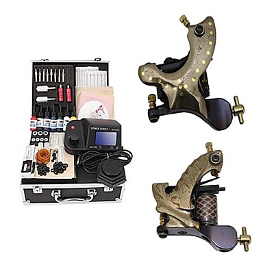 Buy Damascus Hand-made 2 Tattoo Machines Kit LED Power