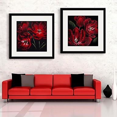 Buy Floral/Botanical Framed Canvas / Set Wall Art,PVC Black Mat Included Frame Art