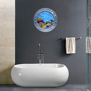 3d wall stickers wall decals marine animal bathroom decor - Sticker mural salle de bain ...