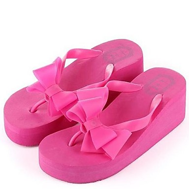 women 39 s spring summer fall flip flops rubber dress casual wedge heel bowknot black pink. Black Bedroom Furniture Sets. Home Design Ideas