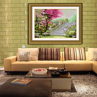 Dorp landschap schilderij de hand borduurpakketten woonkamer diamant kruissteek handwerken muur - Woonkamer deco ...