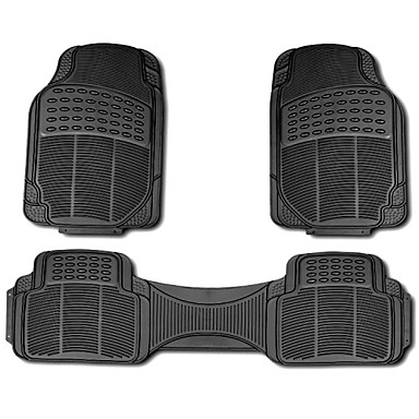 TIROL New 3pc Ridged Heavy Duty Rubber Floor Mats, Universal Fit, Black/Grey/Beige