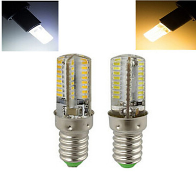 Buy E14 7W 64X SMD 3014 1536LM 2800-3500/6000-6500K Warm White/Cool White Corn Bulbs AC 220V