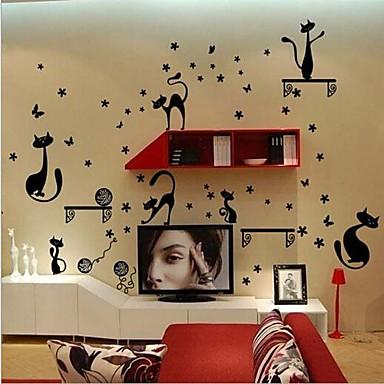 Aftagelige katte formet tv baggrund / soveværelse / stue væg ...