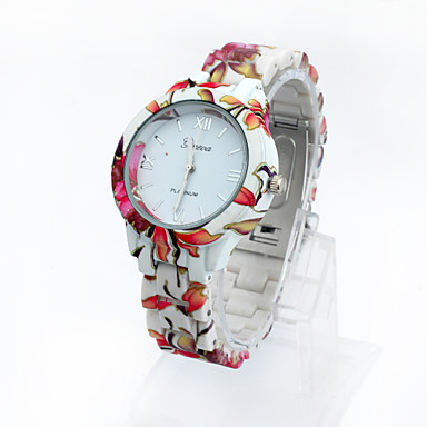 Lureme Fashion Leisure Printing Color Country Style Plastic Strap Girls And Women Quartz Wrist