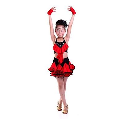 Shall We Latin Dance Children Polyester Flower Dresses Dance Costumes