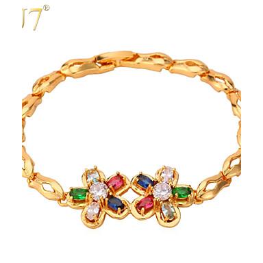 Buy U7® Women's Multicolor Zircon Bnagle Fashion 18K Real Gold Plated Romantic Flowers Zirconia Charm Bracelet