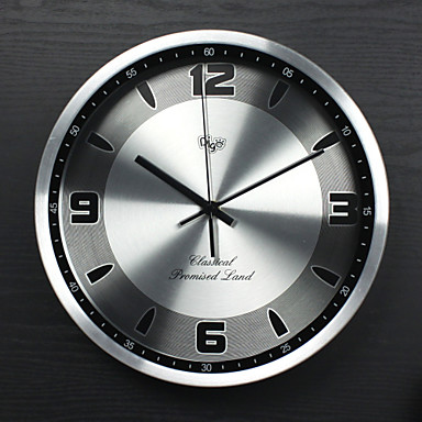 12 inch Modern/Contemporary/Office/Business Aluminum/Metal Round Wall Clock N...
