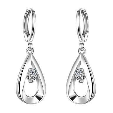 Buy Earring,Jewelry,lureme®Fashion Style 925 Sterling Sliver Zircon Teardrop Shaped Dangle Earrings