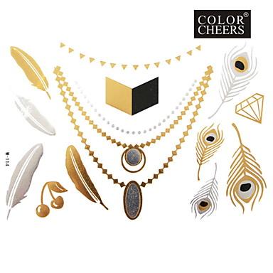 Buy 1Pc Feathers Necklace Jewelry Tattoo Sticker 23x15.5CM