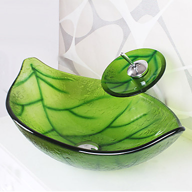 Green Leaf Shape Tempered Glass Vessel Sink With Waterfall