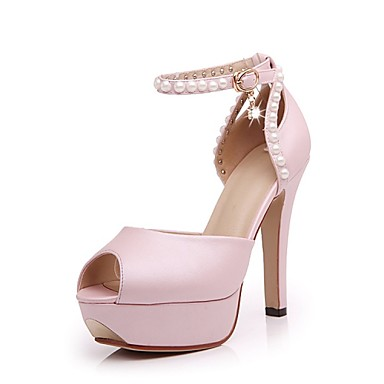 Zapatos de mujer tac n stiletto punta abierta for Zapatos de trabajo blancos