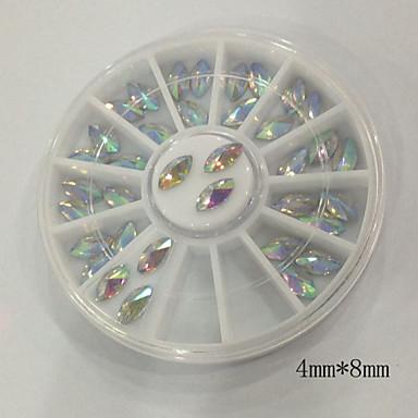 Buy W126 4mm*8mm 36pcs/Set Fashion Jewelry Beauty Horse Eye Shape Acrylic Clear Rhinestones DIY Nail Art Accessories