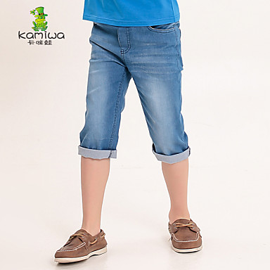 KAMIWA ® Boy's Summer Calf-length Jeans Pants Denim Shorts Children's Thin Leisure Clothing Kids Trousers Teen Clothes