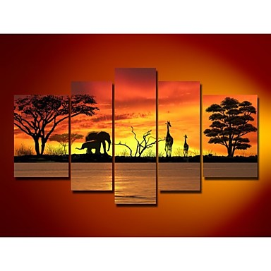 100% hand-painted oil Tree Wall Art Canvas African Forest Animals Landscape O...