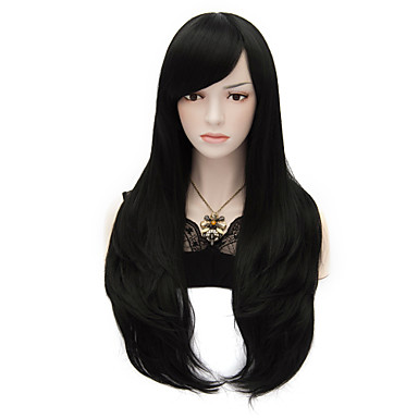 Buy 70cm/27.6inch Long Black Natural Straight Fashion Wigs Women Girl Multi-use Cosplay Synthetic Full Party Wig