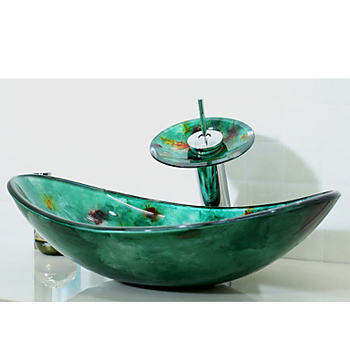 Multicolour Boat Shaped Tempered Glass Vessel Sink With Waterfall Faucet Pop Up Drain And