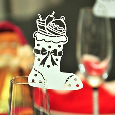 12pcs stocking wine glass card escort cup card table name for 12 days of christmas table numbers