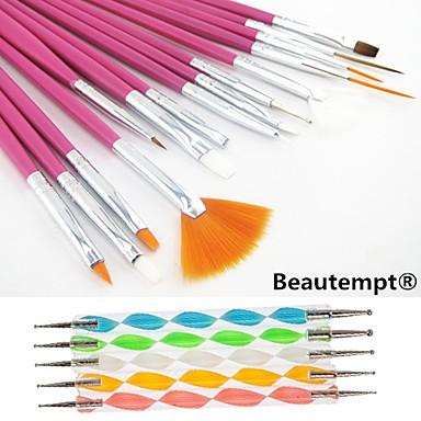 Buy 1Pink Handle Nail Art Design Painting Drawing Pen Brush Set&2-way Dotting Marbleizing Tool