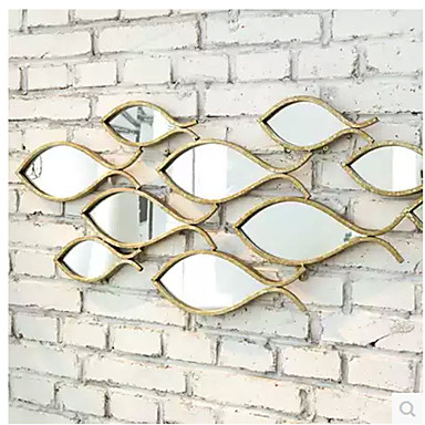 E Home Metal Wall Art Wall Decor Fish Shaped Mirror Wall