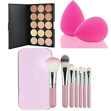 Buy 15 Colors Contour Face Cream Makeup Concealer Palette + Pink Box Brushes Set Kit Powder Puff