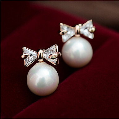 """""""New Arrival Hot Selling High Quality Crystal Bow Pearl Earrings"""""""