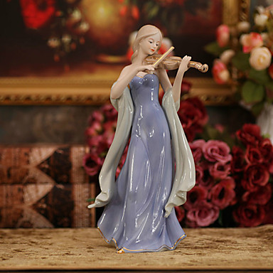 Lovely Violin Girl Resin Craft Ornaments Creative Study Living Room TV Home Decor Gift for Daughter,Lover and Wedding