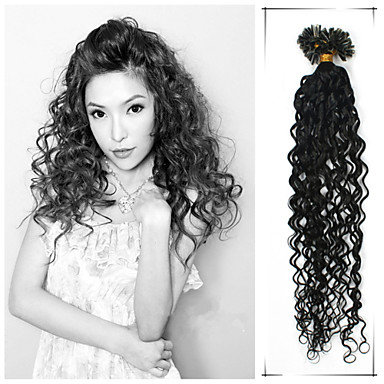 Buy 1pc/Lot 20Inch/50cm Jet Black Etc 7 Colors Curly Nail Tip Hair Extension Human 100s/Pack 0.5g/s