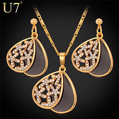 Buy U7® Women's Hollow Flowers Earrings Fashion Jewelry Set Black Enamel Rhinestone Openable Water-drop Necklace