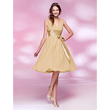 Lanting Bride® Knee-length Chiffon Mini Me Bridesmaid Dress - A-line / Princess V-neck Plus Size / Petite withBow(s) / Draping / Sash /