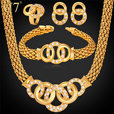 Buy U7® Women's 18K Real Gold Plated Brilliant Cut Crystal Popcorn Chain Bracelet Necklace Ring Earrings Bridal Jewelry Set