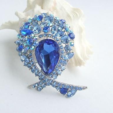 3.35 Inch Silver-tone Blue Rhinestone Crystal Flower Brooch Pendant Art Deco