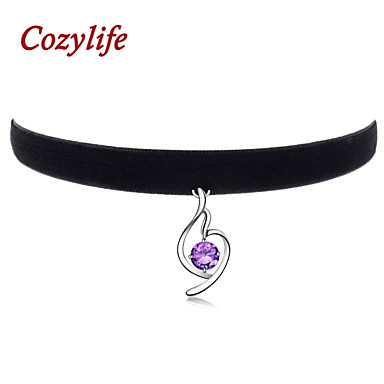 Buy Cozylife 3/8 inch Womens Girls Black Velvet Gothic Collar Vintage Choker Necklace S925 Sliver CZ Diamond Pendant