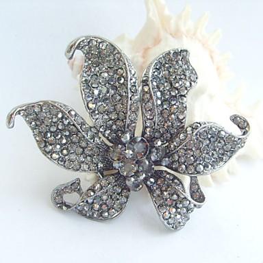 3.74 Inch Vintage Gray Rhinestone Crystal Orchid Flower Brooch Pendant